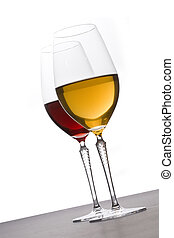 玻璃杯, 在中, 红和白, 酒