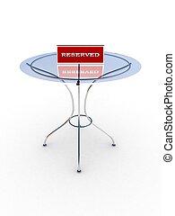 玻璃桌子, 由于, a, 簽署, 保留, 被隔离, 在懷特上, 背景