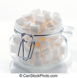 玻璃罐子, 充分, ......的, 白色的糖立方, 在懷特上, 基礎