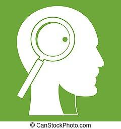 玻璃, 头, 绿色, 扩大, 图标