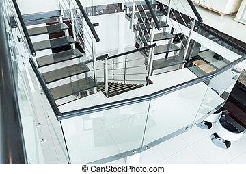 玻璃, 楼梯, 在中, the, 住处