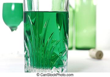 玻璃, 由于, 綠色, 酒