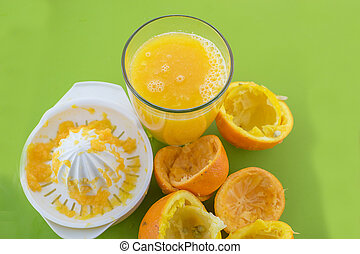 玻璃, ......的, 新鮮, 被擠壓, 橙汁