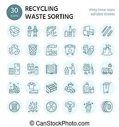 玻璃, 管理, 垃圾, 再循环, 纸, 小册子, 图标, pictogram, -, 矢量, 分类, 塑料, 线性, editable, 打击, 线, 浪费, 现代, metal., collection., recycling., 海报
