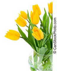 玻璃, 花, 郁金香, 黃色, 花瓶