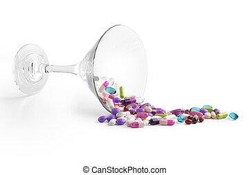 玻璃, 藥, 白色, 背景, 雞尾酒
