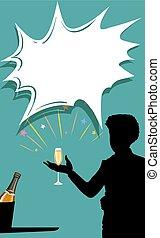 玻璃, 香槟酒, 侧面影象, 人, 手