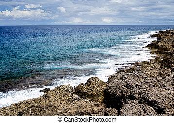 珊瑚礁, 岩石, 海岸線