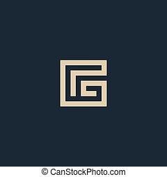 珍しい, 隔離された, ベクトル, 建築, 手紙, g.。, 幾何学的, logo., monogram.