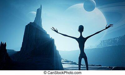 珍しい, planet., ずっと, 風景, 待つこと, 夜明け, rendering., 3d, 彼の, 美しい, space., 惑星, 外国人