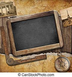珍寶地圖, 黑板, 以及, 老, compass., 船舶, 仍然, life., 冒險, 或者, 發現,...
