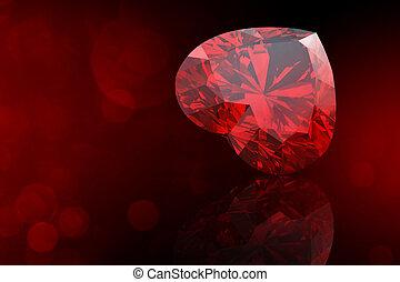 珍寶, 心, 珠寶, 形狀, 彙集, 黑色, gemstone.