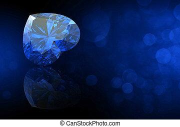 珍寶, 心, gemstone., 珠寶, 形狀, 彙集, 蘭寶石, black.