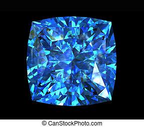 珍寶, 藍色, 珠寶, square., 黃玉, 形狀, 瑞士人