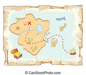 珍寶, map., 矢量, 老, 紙, 背景