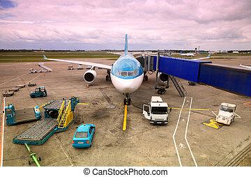 班機, 由于, nonreal, 顏色, 停放, 在, 機場。, 用板覆蓋, 旅客, tube., 服務, 技師