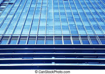 現代のオフィス, 建物, 青いガラス, 壁, 細部