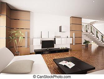 現代居住, 房間, 內部, 3d, render