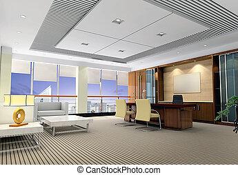 現代部屋, オフィス, 3d
