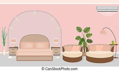 現代部屋, ソファー, ホテル, houseplants, 内部, バックライト