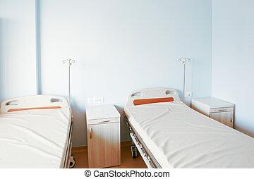 現代, きれいにしなさい, 空, ベッド, 病院, room., hospital., 内部, ward.