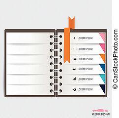 現代, らせん状に動きなさい, infograp, ノート, デザイン, リボン, テンプレート