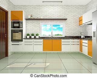 現代, イラスト, 明るい, 3d, style., 台所
