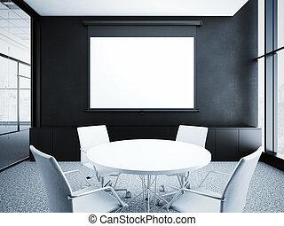 現代, オフィスの内部, ∥で∥, 黒, walls., 3d, レンダリング