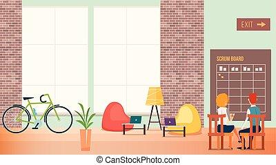 現代, オフィススペース, 仕事, 人々, 創造的, 開いた