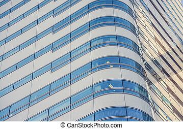 現代, オフィスビル, ∥で∥, 青いガラス, ファサド