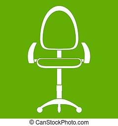 現代, オフィス椅子, アイコン, 緑