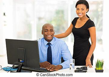 現代, オフィス, ビジネス エグゼクティブ, 若い, アフリカ