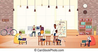 現代, オフィス, ビジネス 人々, 仕事, 休養エリア