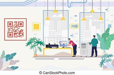 現代, オフィス, ベクトル, 装置, 平ら, 会社