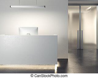 現代, オフィス, レセプション。, 3d, レンダリング