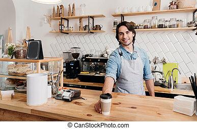 現代, カフェ, ビジネス