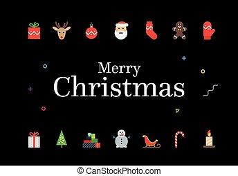 現代, クリスマスカード, ∥で∥, icons., minimalistic, ベクトル