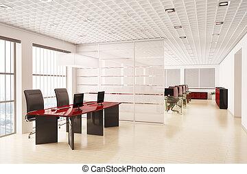 現代, コンピュータ, オフィスの内部, 3d