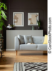 現代, ソファー, ∥で∥, 枕, そして, 2, 絵, 上に, a, 灰色, 壁, 中に, a, 反響室,...