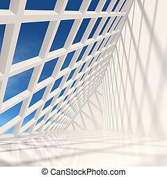 現代, デザイン, ホール, 建築である