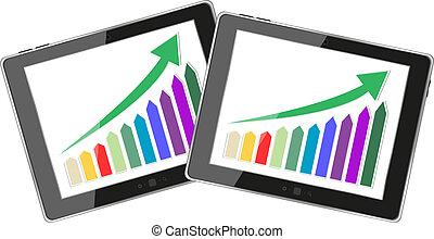 現代, デジタルタブレット, pc, 提示, 成功, 成長チャート, 上に, a, screen., 隔離された, 白
