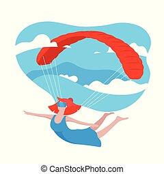 現代, パラシュート, vr, 女の子, design., 青, スタイル, game., concept., 飛行, 空, バーチャルリアリティ, バックグラウンド。, 3d, 身に着けていること, 平ら, 女, カラフルである, ガラス, イラスト, 漫画, 雲, 遊び