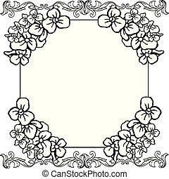現代, フレーム, 花輪, バックグラウンド。, ベクトル, デザイン, 白