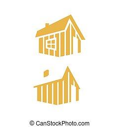 現代, ベクトル, イラスト, 単純である, ロゴ, 森, デザイン, キャビン, 丸太