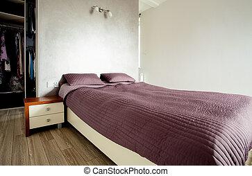 現代, ベッド, 寝室