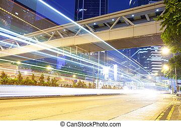 現代, 交通, hongkong., 通り, 都市, 道, ライト