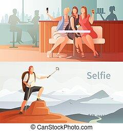 現代, 人們, selfie, 集合