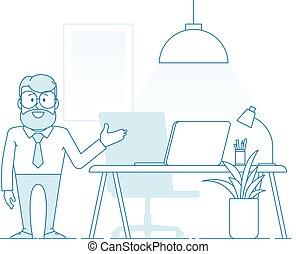 現代, 你, 人, 工作, 舒適, 邀請, 辦公室。