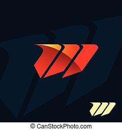 現代, 信件 m, logo., 速度齋戒, 設計, 概念, 樣板