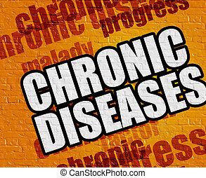 現代, 健康, concept:, 慢性, 疾病, 上, the, 黃色, brickwall